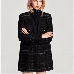 NWOT Zara Checked Tweed Frock Coat Blazer Jacket